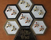 Last Chance/ Removing Soon/Coupon Code 10TODAY takes10 perenct off/ Vintage Bumble Bee Pin Set with ORIGINAL Bee Hive Stand / FREE Shipping
