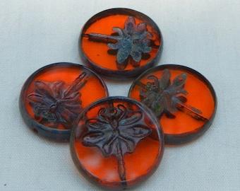 Dragonfly Czech Glass Bead, 4, Coin Beads