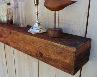 "Floating Wood Shelf - 24"" Long x 8"" Deep x 4"" Tall - Farmhouse Chic - Shelves - Shelving - Wooden - Wall Hanging - Faux Beam - Mantlepiece"