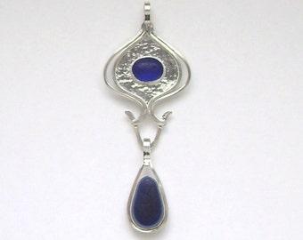 SALE!!  Sea Glass Jewelry - Rare Cobalt Blue Victorian English Sea Glass 3 in 1 Pendant