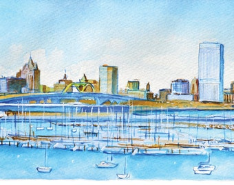 Milwaukee Skyline Watercolor Print by James Steeno