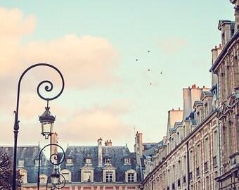 Paris Photography, Paris Print, Le Marais, Paris Photo, Paris Streets, Lamp Posts, Fine Art Paris Photo, Pastel Colors - Place des Vosges