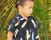 Boys Handmade Hawaiian Surfboard Aloha Shirt  Black 6mo to 11/12