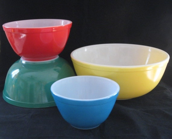Vtg Pyrex Primary Multicolored Mixing Bowl Set 400 Series