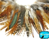 Rooster Feathers, 4 Inch Strip - NATURAL RED Chinchilla Strung Chinese Rooster Saddle feathers : 713