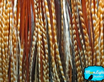 Wholesale Hair Feathers, 100 Pieces - Unique Ginger Thin Long Rooster Hair Extension Feathers Wholesale (bulk) : 2320