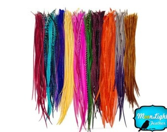 Hair Feathers, 100 Pieces - Wholesale Colorful Thin Long Rooster Hair Extension Feathers (bulk) : 3112