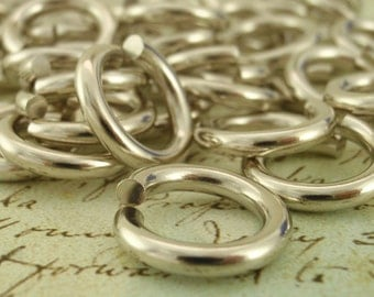 25 EPIC Solid Nickel Silver Jump Rings 10 gauge 10mm ID -  X-Large