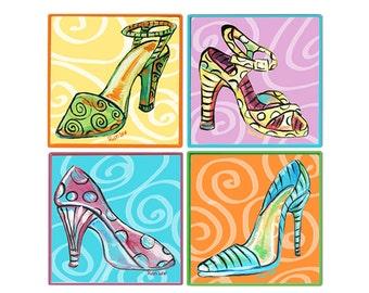 SHOE DIVA Wall Decor SET of 4 High Heel Shoes
