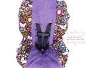 Toddler Car Seat Cover Birds of Norway with Violet