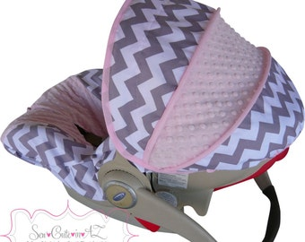 Infant Car Seat Cover Gray Chevron with Light Pink Pink