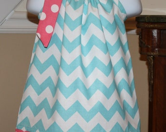 aqua blue spring chevron Pillowcase dress riley blake hot pink white polka dot toddler easter dress 3, 6, 9, 12, 18 mo 2t, 3t, 4T