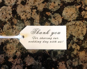50 Wedding Shower Favor Tags - - Thank you Preprinted Ships in 24 hours