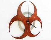 Biohazard I, Medium Wall Clock, Rusted Wall Clock, rustic wall clock, unique wall clock, modern wall clock, steampunk wall clock