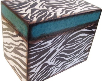 Recipe Box Decoupaged This Zebra Box is Large and Handcrafted Holds 4x6 Recipe Cards  MADE To ORDER