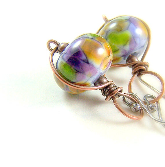 Lampwork Earrings, Mixed Metal Jewelry, Dangle Earrings, Lampwork Jewelry, Mardi Gras, Copper and Silver, Sterling Silver, Infinity Wrap