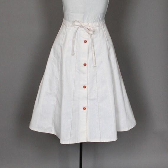 Vintage Skirt Full Natural Beige with Orange Contrast Stitching and Tie Belt Large SALE