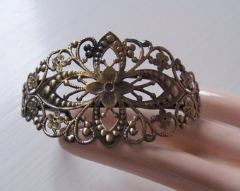 Antiqued Brass Filigree Bracelet Blank For Collage And Embellishment