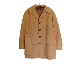 Men's Vintage PENDLETON Car Coat, Camel Beige Wool Exterior, Satin Lined Overcoat