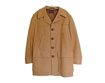 Men's Vintage PENDLETON Car Coat, Camel Beige Wool Exterior, Satin Lined Overcoat