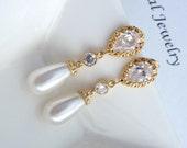 Wedding Bridal Earring White Teardrop Swarovski Pearl CZ Connectors Yellow Gold Plated Peardrop Cubic Zirconia Post Earring