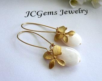 Large White Mother of Pearl Orchid Flower Long Lotus Petal Hoop Earrings