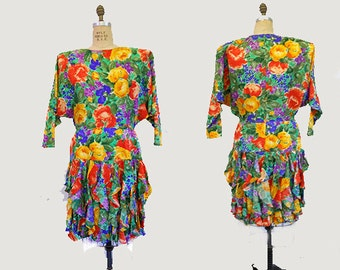 Vintage 1980s  Silk Dress by Giilian Rainbow Floral Print with Dolman Sleeves and Ruffles Flapper