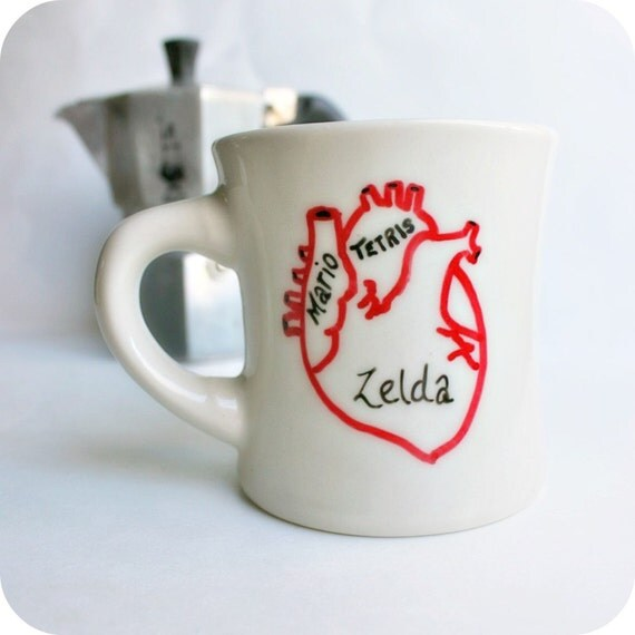 Gamer Geek Funny Mug Coffee Tea Cup Diner Mug Red White