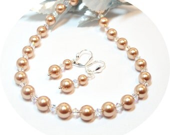 Rose Gold, Necklace, Earrings, Wedding Jewelry Pearl Jewelry, Pearl Necklace, Pearl Earrings, Bridal Accessories, Bridesmaid Jewelry