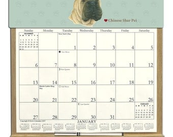 2018 CALENDAR - Chinese Shar-pei Dog Wooden  Calendar Holder filled with a 2018 calendar & an order form page for 2019.