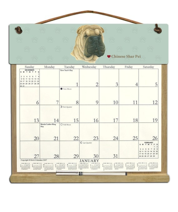 2017 CALENDAR - Chinese Shar-pei Dog Wooden  Calendar Holder filled with a 2017 calendar & an order form page for 2018.