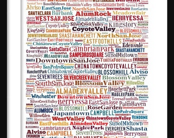 San Jose Map - Typography Neighborhoods of San Jose Print