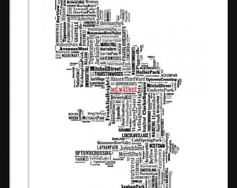 Milwaukee Map Typography Map Poster Print