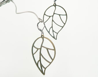Leaf Earrings - Antique Bronze Metal Finish