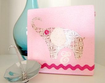 Nursery Canvas Art -- Pink Elephant -- 5x5 -- Initial E