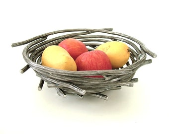 Bird Nest Bowl/Steel Twig Bowl/Functional Fine Art Centerpiece Bowl