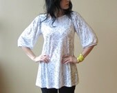 Women's Tunic White with Grey Print, loose fit, puff sleeves, modern bohemian- made to order