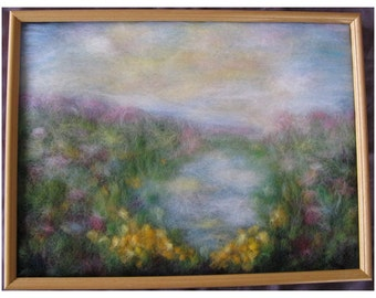 Spring Magic: Changing into Summer. - wool fiber art, wall hanging, wool picture
