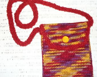 Crocheted Multicolored Purse with Strap Red Gold Orange Purple Southwestern
