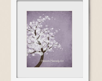 Purple Watercolor Tree Art 8 x 10 Print, Nature Inspired Home Decor, White Circle Tree Print Wall Decor,