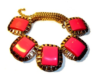 Bubble Gum Pink Oversized  Runway Necklace. 1980s. Industrial. Sweet Vintage.