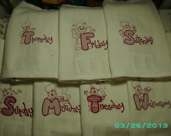 Embroidered whimsical Chefs Day-of-the-Week Kitchen Towels