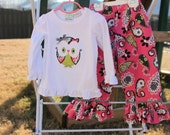 Boutique Owl Ruffle Pants Set.....size 4T....ready to ship