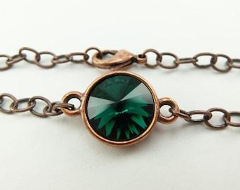 Emerald Birthstone Bracelet Copper Chain Bracelet Crystal May Birthstone Bracelet