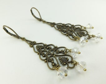 Beaded Clear Chandelier Filigree Earrings Crystal Long Antiqued Leverback Brass Victorian Dangle Earrings