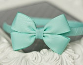 Pinwheel Bow Headband - AQUA - Over 65 Colors Available (Fits Toddler through Adult)