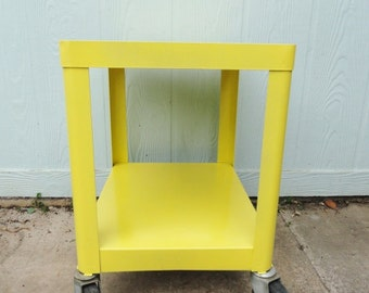 Vintage Industrial Cart End Table Side Table Rolling Metal with Casters Yellow