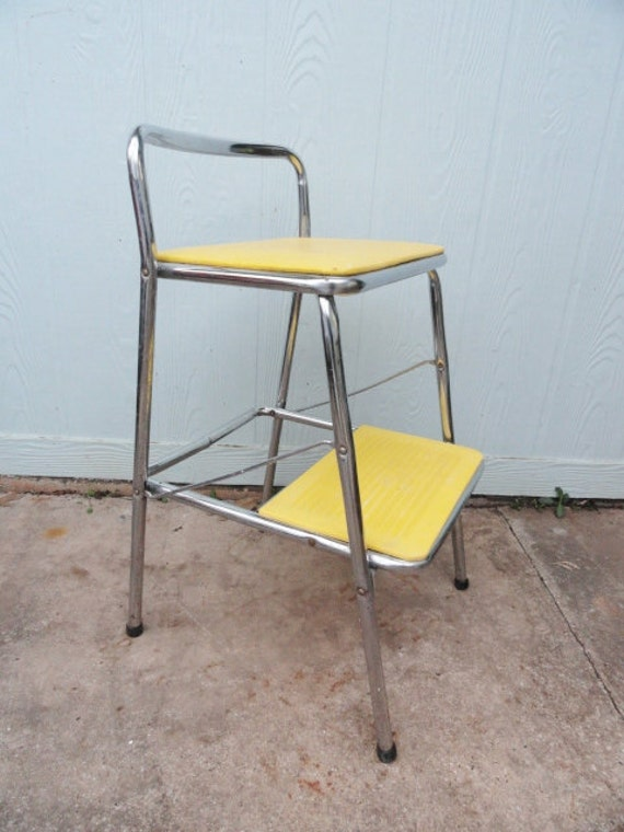 Vintage Utility Step Stool Chrome Yellow Metal By