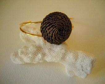 Vintage gold Button cuff Bracelet