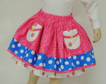 Girl's Skirt, Girl Twirly Skirt, Girl Skirt with Petticoat, Toddler Skirt, Pink Skirt, Children, Girl Clothing, Size 2 3 4 5 6 7 8, Pink
